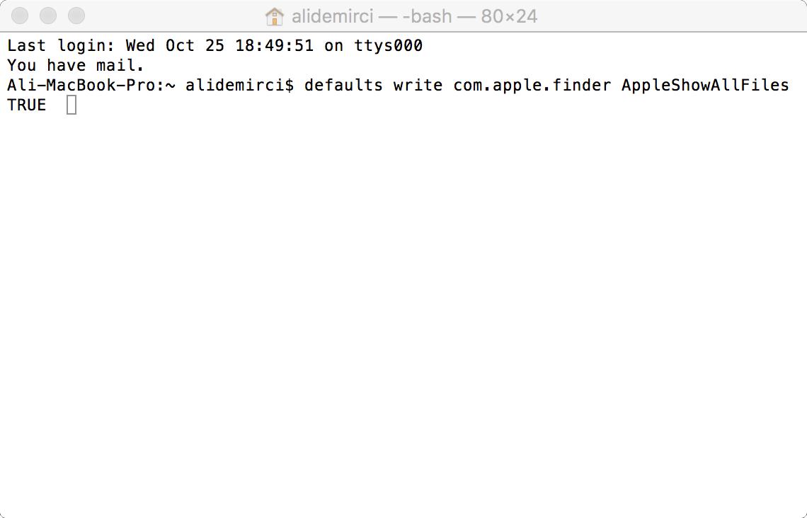 Mac Terminal Ekranı
